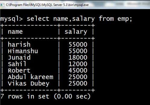 want to display only the name and salary columns then the sql query will be as