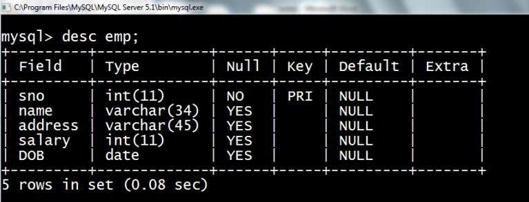 we will use 'desc' or 'describe' command as follows: Performing Simple calculation using select command on