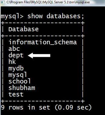 Note: Here we had used dept database and then executed show tables command to view