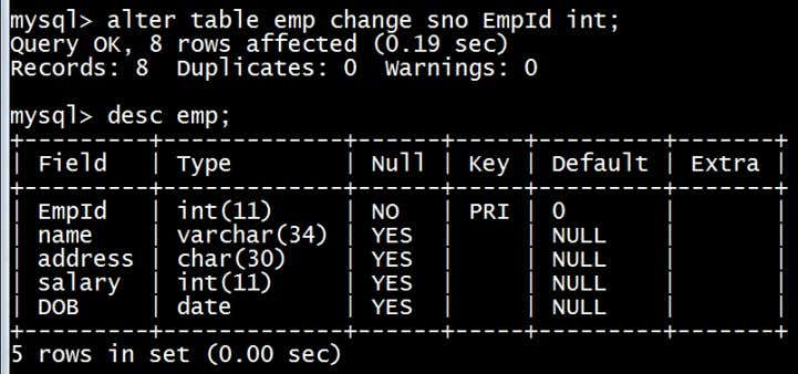 the column name 'sno' to 'EmpId' of 'emp' table. Note: In the above alter query we