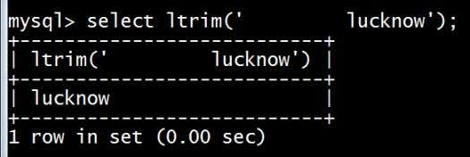 list. f) Ltrim(): Removes leading spaces from the string. g) Rtrim(): Removes trailing spaces from the