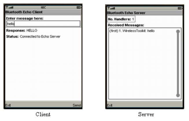 the main client and server screens in the application: Figure 1 The Bluetooth-base d Echo Client