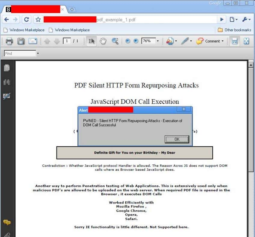 behavior wi th different browsers: [11.1] Google Chrome: Result: Positive PDF Silent HTTP Form Repurposing Attacks