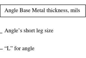 "Angle Base Metal thickness, mils Angle's short leg size Angle's long leg size ""L"" for angle"