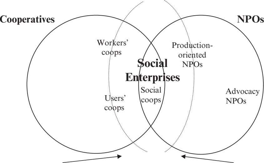 Cooperatives NPOs Workers' Production- coops oriented Social NPOs Enterprises Social Advocacy Users' coops