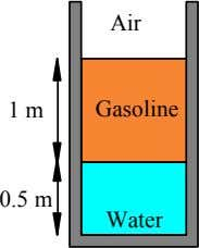 Air 1 m Gasoline 0.5 m Water