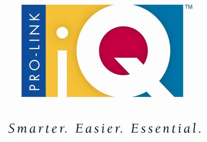 Pro-Link iQ ™ Hardware and Software User Manual