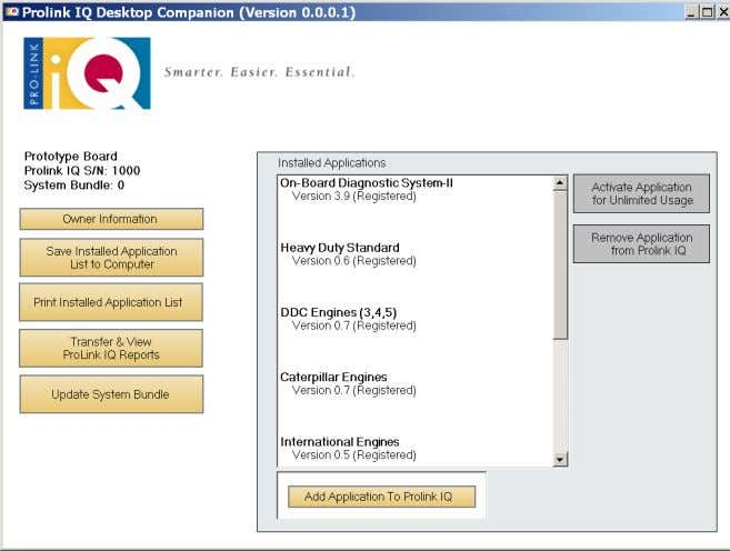 downloaded from the Pro-Link iQ Customer Service website. Figure 2.6 Desktop Companion Screen NOTE: i All