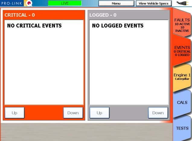 Events are classified as either Critical or Logged . Figure 2.10 The Events Tab (CAT/ACERT ONLY)