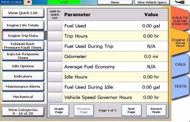 in these categories provide trip-related information. Figure 2.17 Sample Trip Data Screen Pro-Link iQ™ Hardware