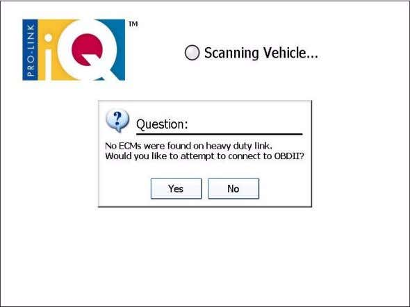 a Vehicle Scan the following message is displayed: Figure 5.2 Error Message Pro-Link iQ™ Hardware and