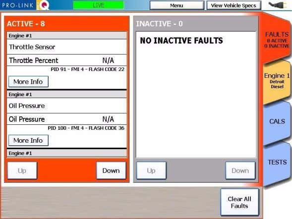 Data Results screen appears, with the Faults tab on top. Figure 5.6 Data Results Screen Pro-Link