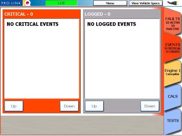 Up and Down buttons to navigate up and down in the list. Figure 5.8 The Events