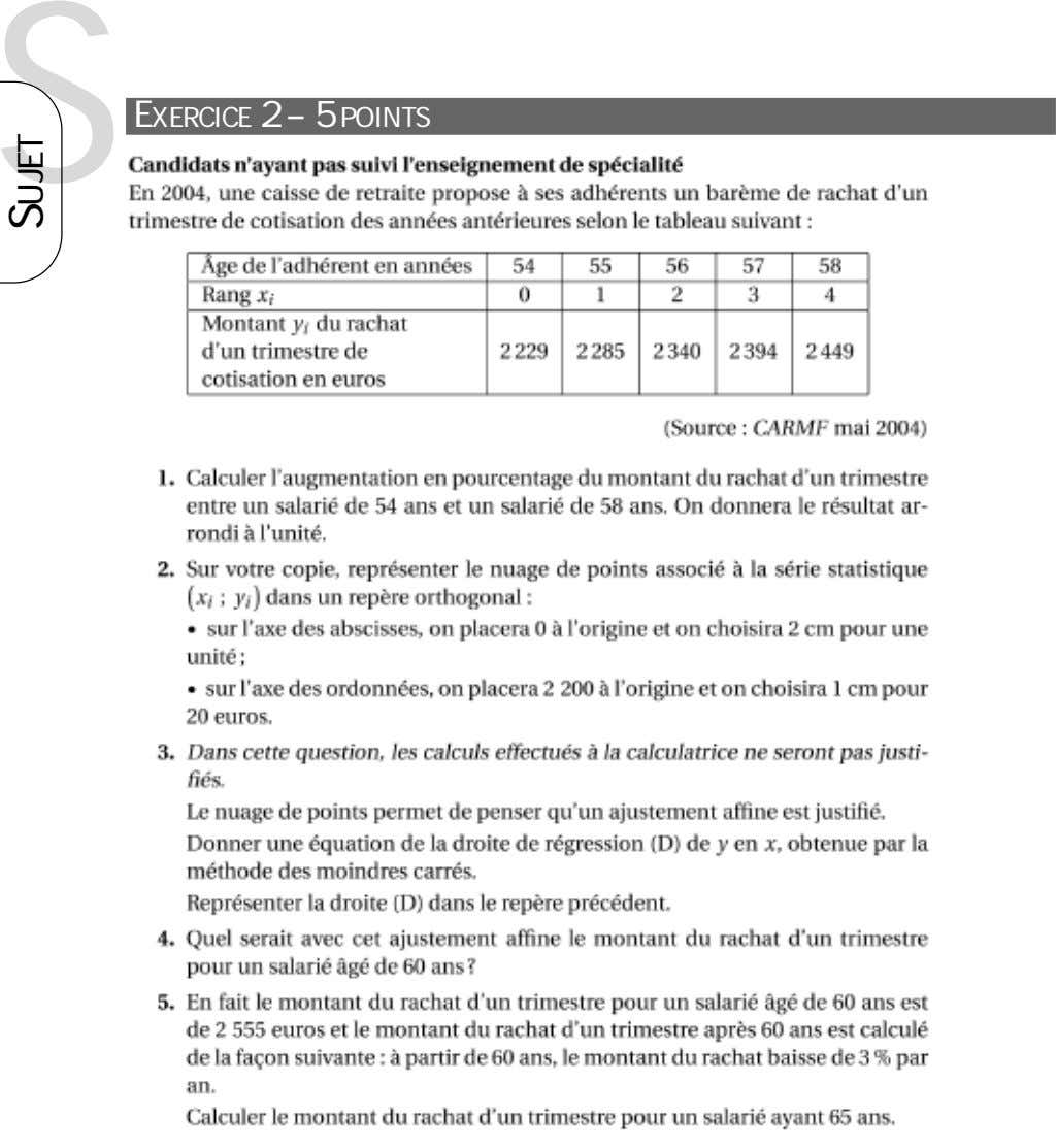 S EXERCICE 2 – 5 POINTS SUJET