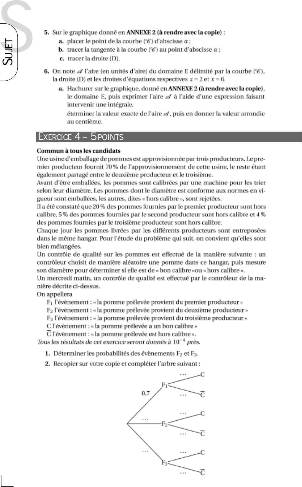 S EXERCICE 4 – 5 POINTS SUJET