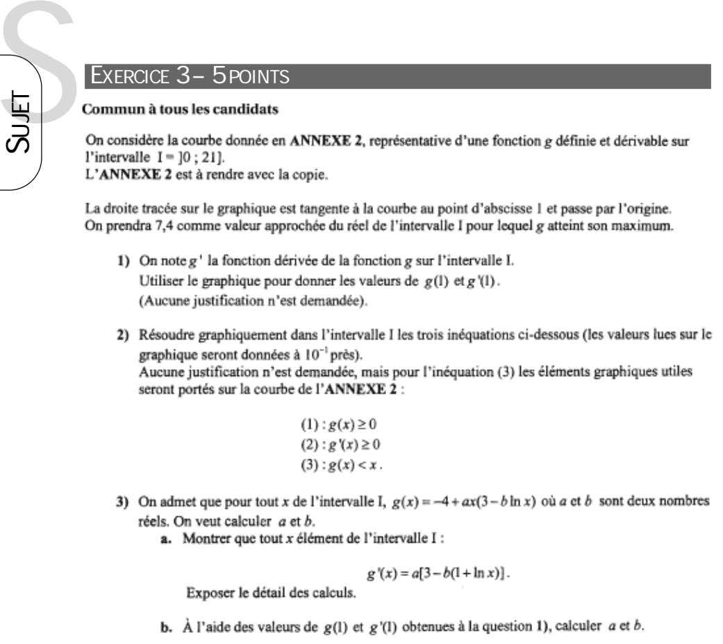 S EXERCICE 3 – 5 POINTS SUJET