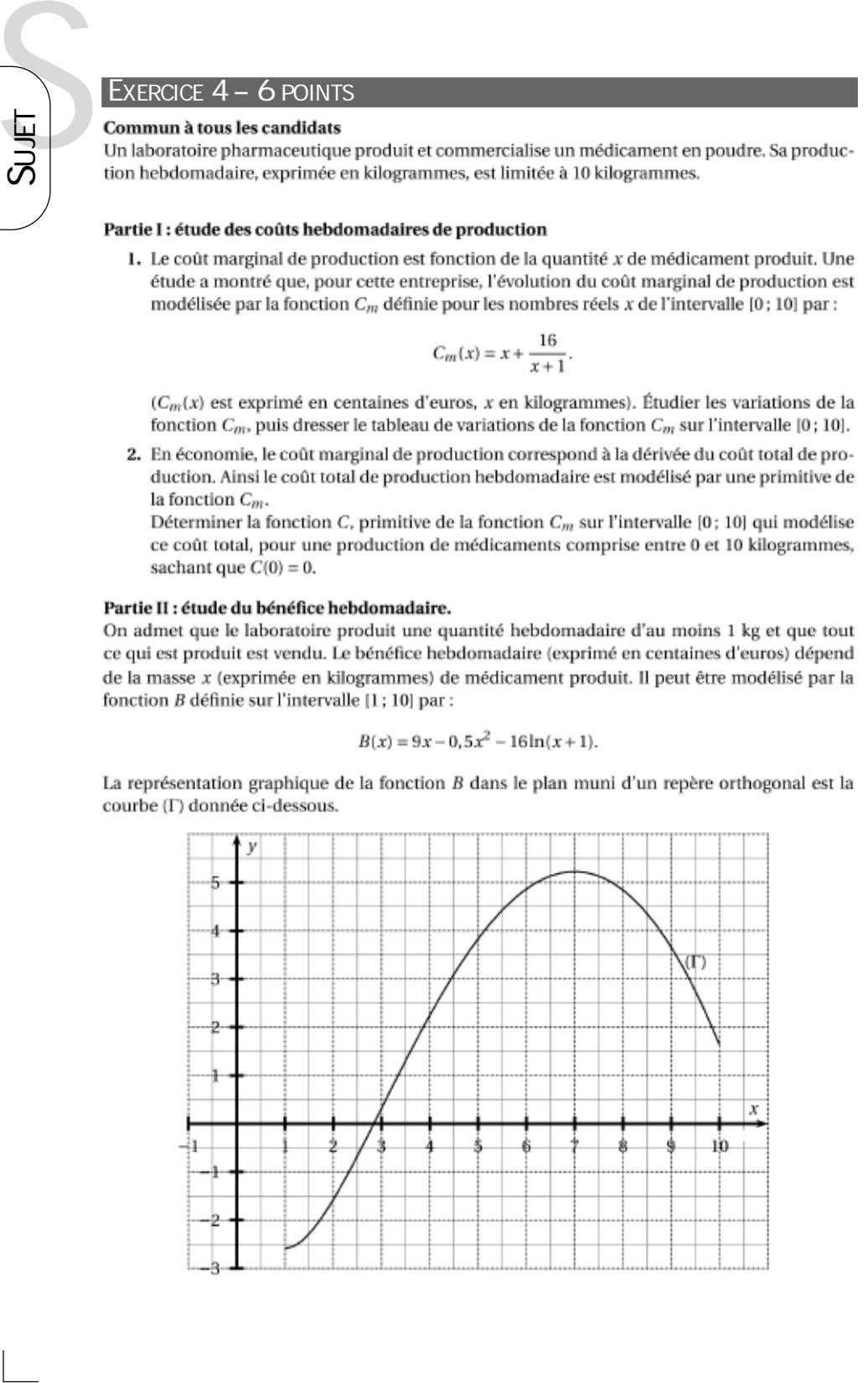 S EXERCICE 4 – 6 POINTS SUJET