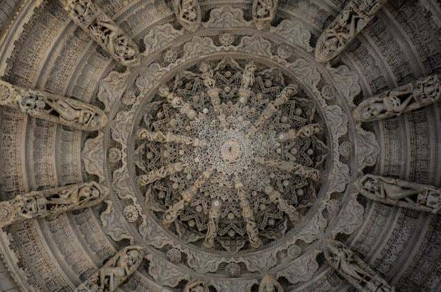 Jain communities in East Africa, Europe, and North America. Part of the ornately carved ceiling of
