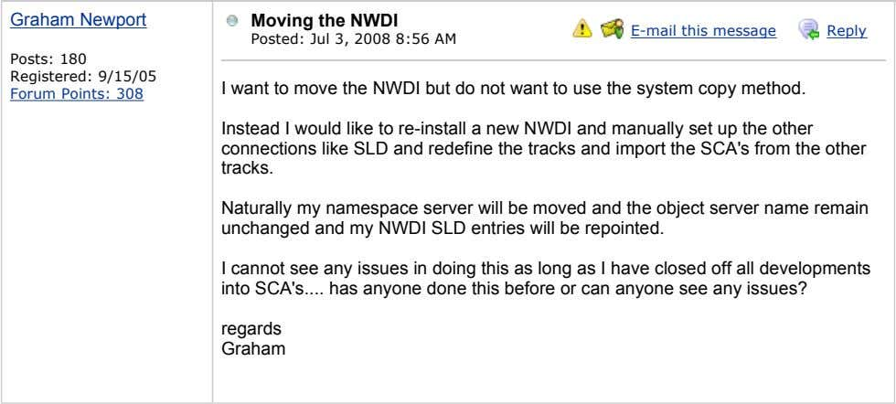 Graham Newport Moving the NWDI E-mail this message Reply Posted: Jul 3, 2008 8:56 AM
