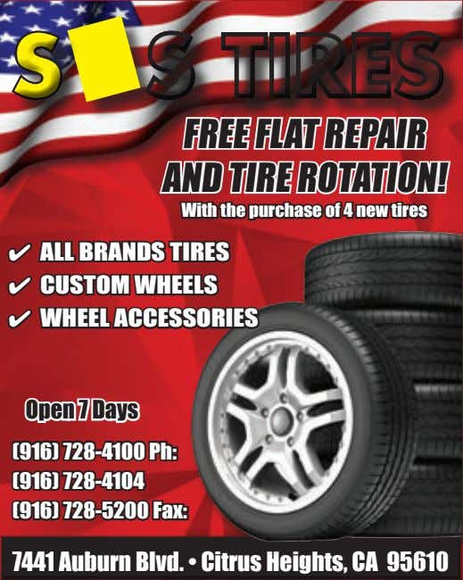 Free Fl AT rePAir AnD Tire rOTATiOn! With the purchase of 4 new tires 4 All