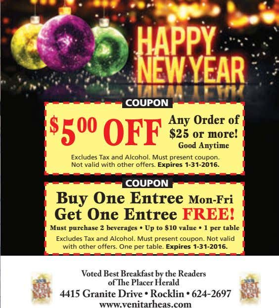 COUPON Any Order of $ 5 00 OFF $25 or more! Good Anytime Excludes Tax and