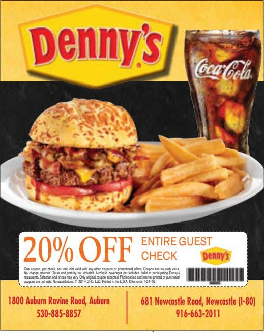 20% OFF ENTIRE GUEST CHECK One coupon, per check, per visit. Not valid with any other