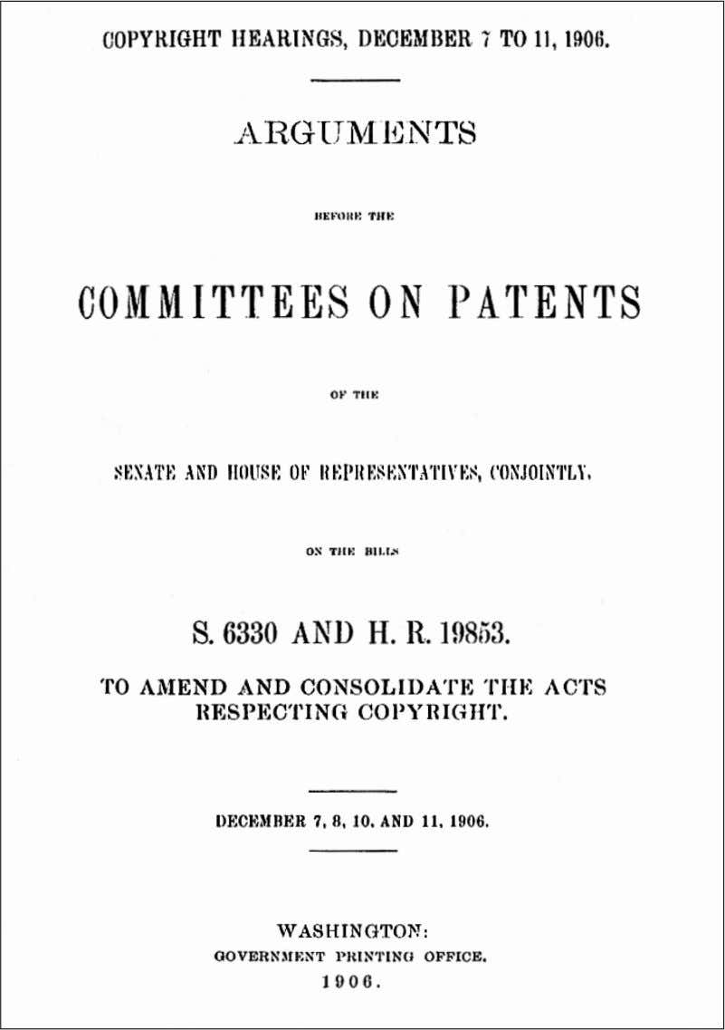 of Samuel Langhorne Clemens before the Congressional Joint Committee on Patents, December, 1906 (Continued on page