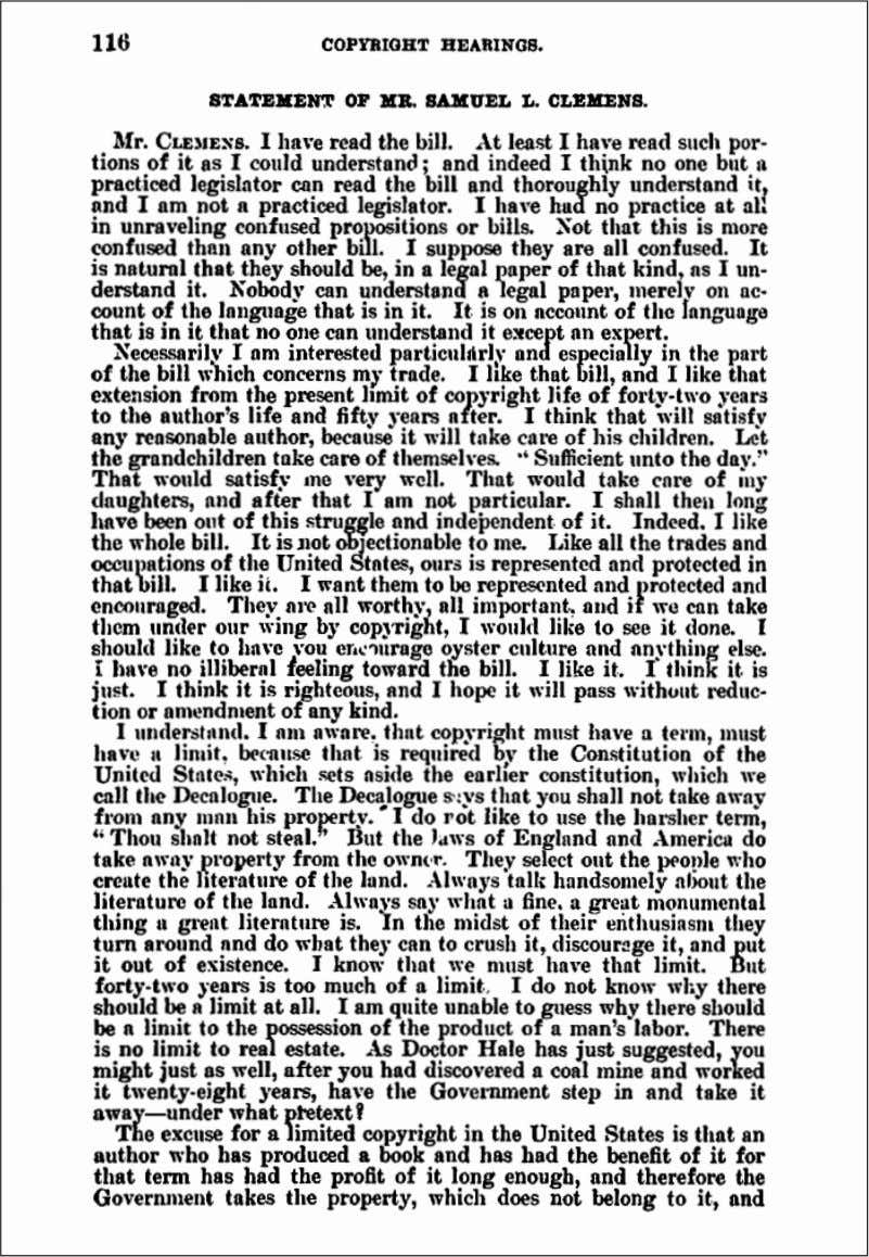Langhorne Clemens before the Congressional Joint Committee on Patents, December, 1906 (continued) (Continued on page 197)