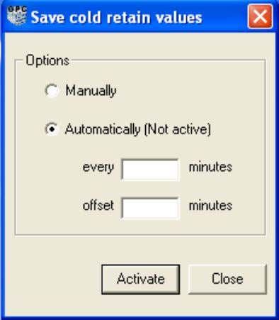 box by selecting Tools > Save cold retain values Figure 9. Save cold retain values dialog.