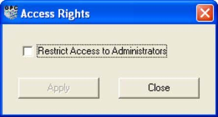 Access Right from the OPC Server Configuration Panel . Figure 10. Access Rights dialog Save Configuration
