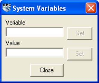> System Variables from the OPC Server Configuration Panel . Figure 13. System Variables Dialog 3BSE035983-510