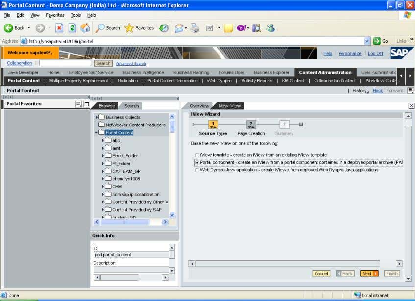 Consuming Portal Services in Abstract Portal Component 7.0 Select the proper Portal archive next give iview