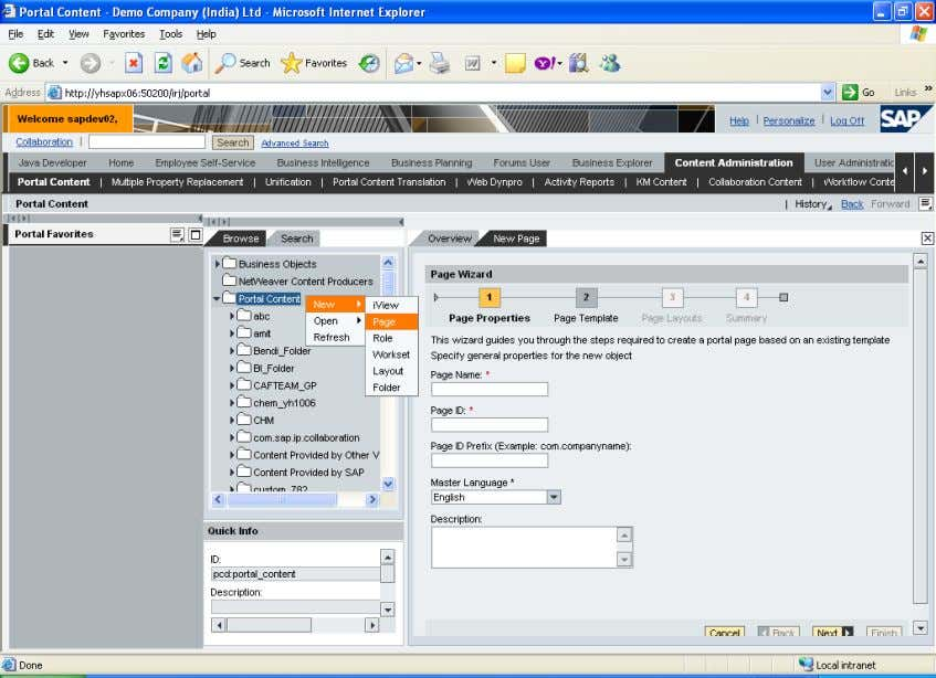 right click New page And give the page details Select Default page Template Select one column