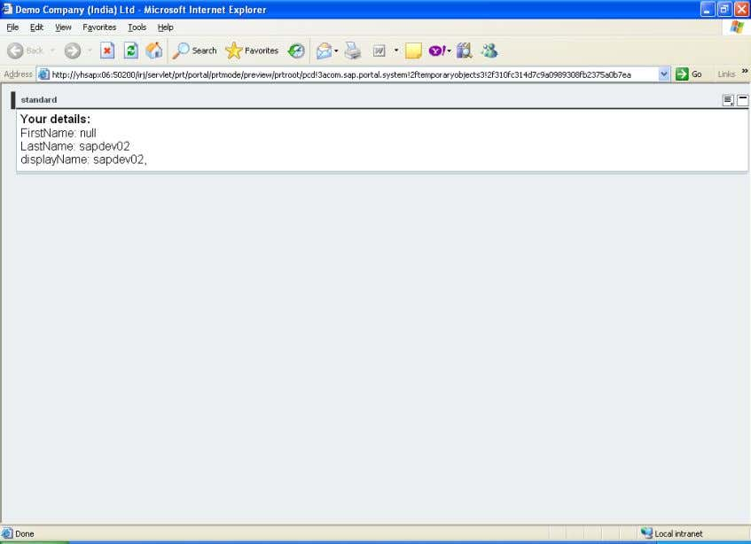 in Abstract Portal Component 7.0 10) Running the Iview SAP COMMUNITY NETWORK SDN - sdn.sap.com |