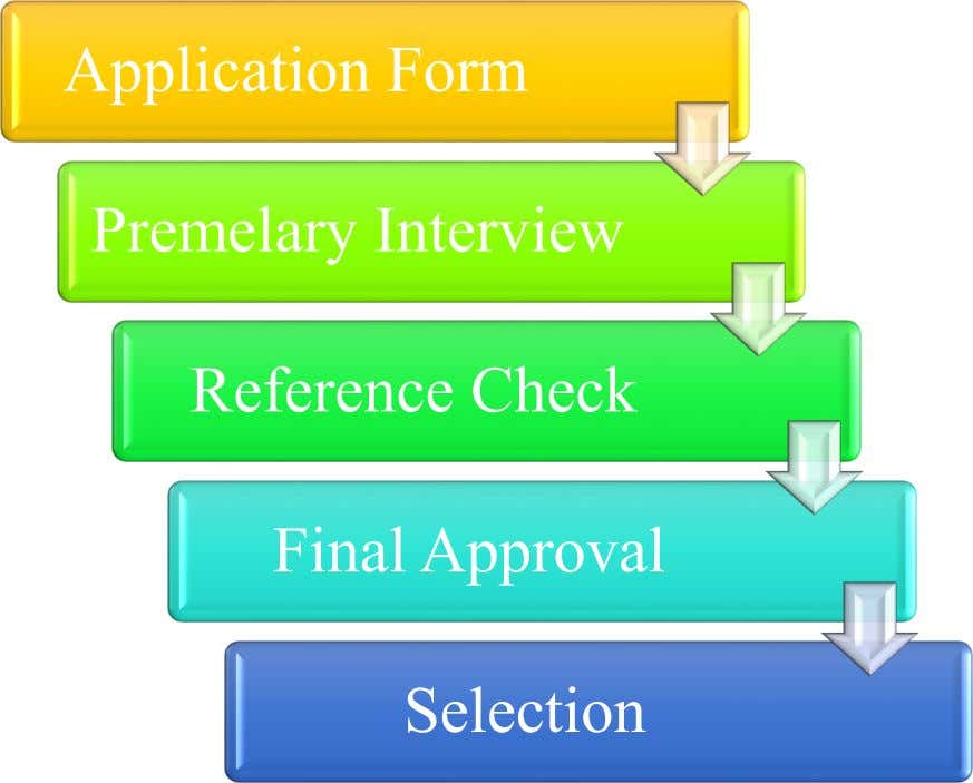Application Form Premelary Interview Reference Check Final Approval Selection