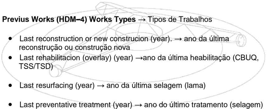 Previus Works (HDM–4) Works Types → Tipos de Trabalhos Last reconstruction or new construcion (year).