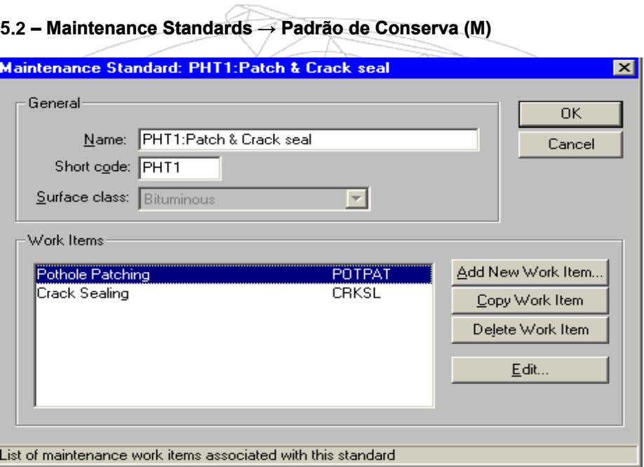 5.2 – Maintenance Standards → Padrão de Conserva (M)