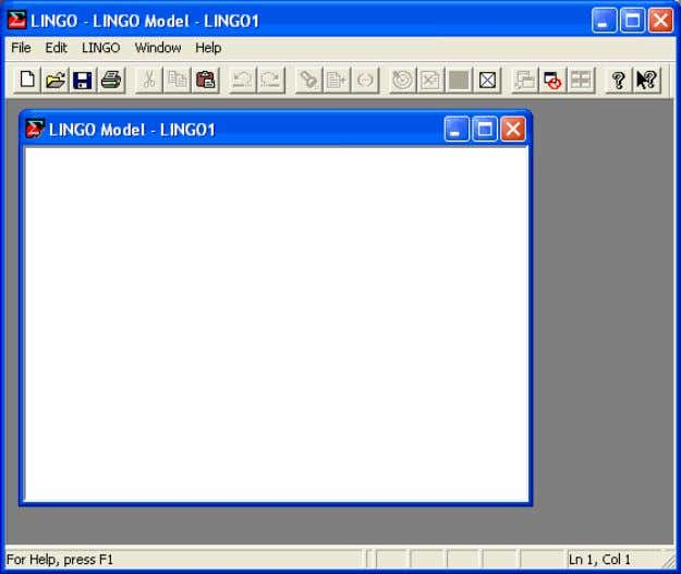 for Windows, your screen should resemble the following: The outer window, labeled LINGO , is the