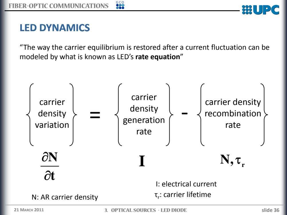 "GCO FIBERFIBER--OPTICOPTIC COMMUNICATIONSCOMMUNICATIONS LEDLED DYNAMICSDYNAMICS ""The way the carrier equilibrium is"
