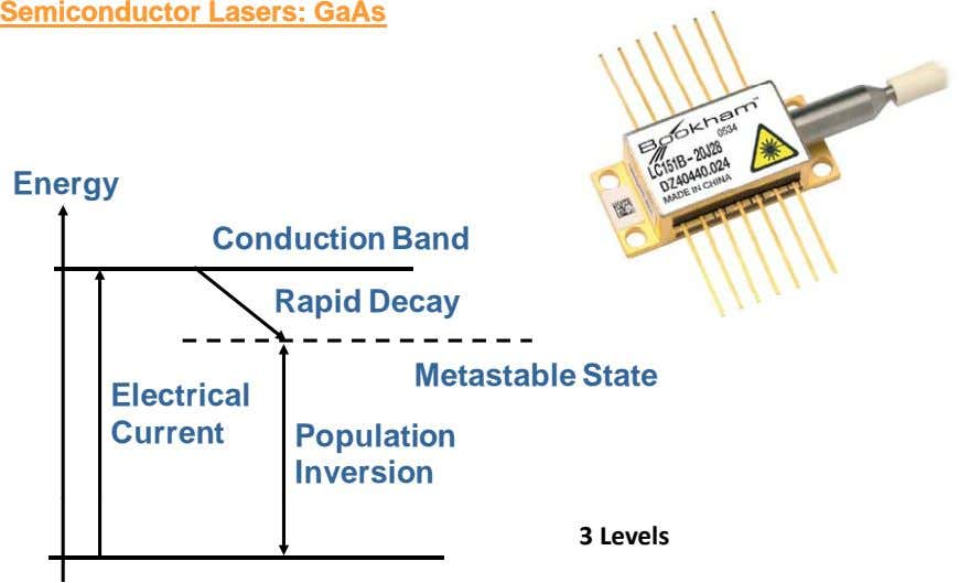 SemiconductorSemiconductor Lasers:Lasers: GaAsGaAs Ener gy Conduction Band Rapid Decay Metastable State ec r ca