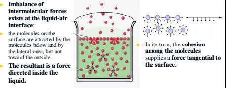 Imbalance of intermolecular forces exists at the liquid-air interface: the molecules on the surface are