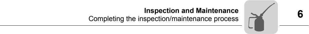Inspection and Maintenance Completing the inspection/maintenance process 6