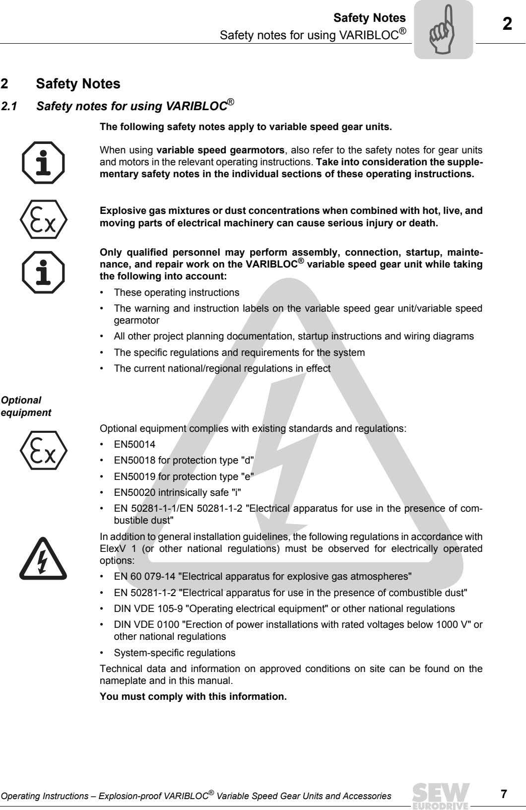 Safety Notes Safety notes for using VARIBLOC ® 2 2 Safety Notes 2.1 Safety notes