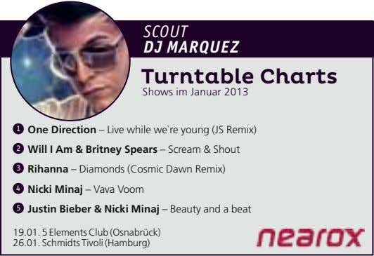 Scout DJ Marquez Turntable Charts Shows im Januar 2013 ➊ One Direction – Live while