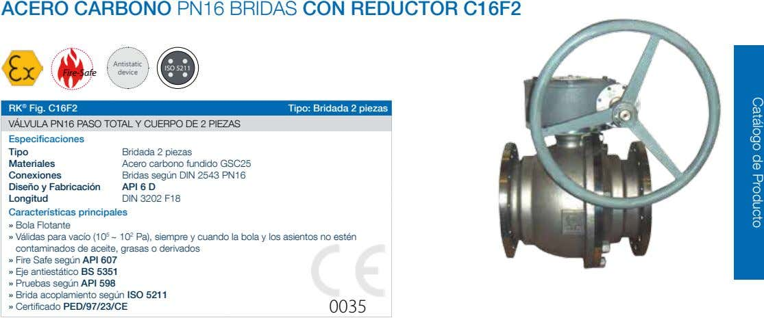 ACERO CARBONO PN16 BRIDAS CON REDUCTOR C16F2 Antistatic ISO 5211 Fire-Safe device RK ® Fig.