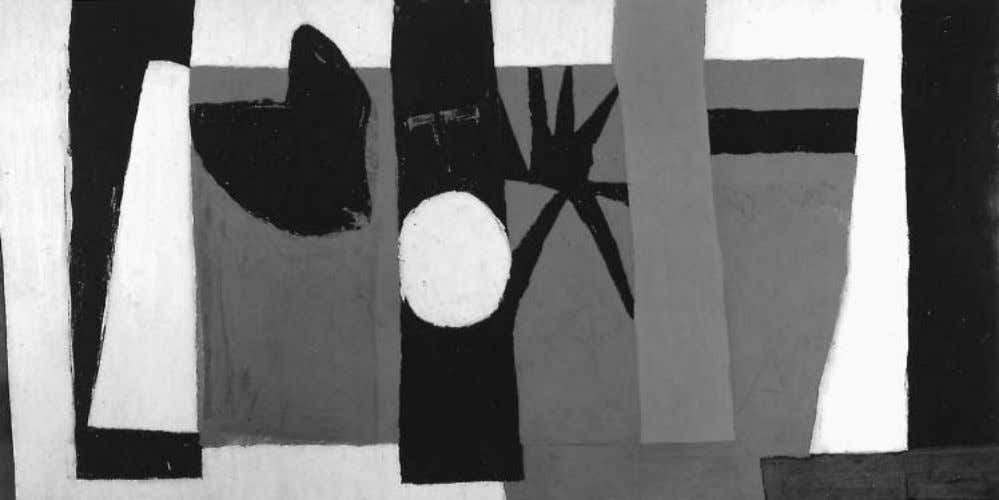 Preface Robert Motherwell, The Voyage, 1949; oil and tempera on paper mounted on composition board, 48