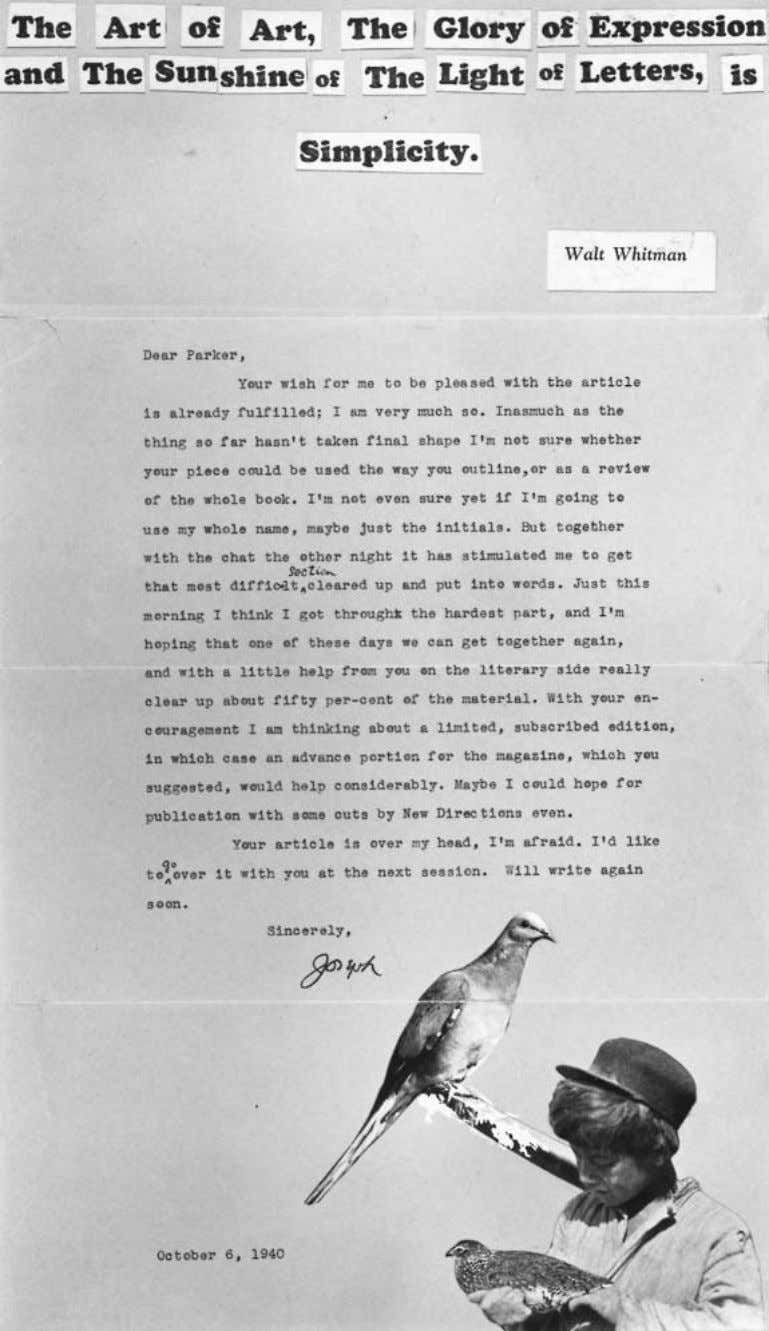 Philippe Soupault Joseph Cornell, Letter to Parker Tyler, 1940. Courtesy of Harry Ransom Humanities Research Center.