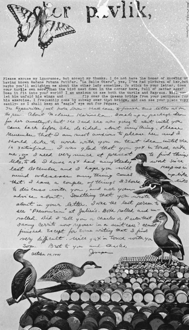 Memoirs of Surrealism Joseph Cornell, Letter to Pavel Tchelitchew, 1941. Courtesy of Harry Ransom Humanities Research