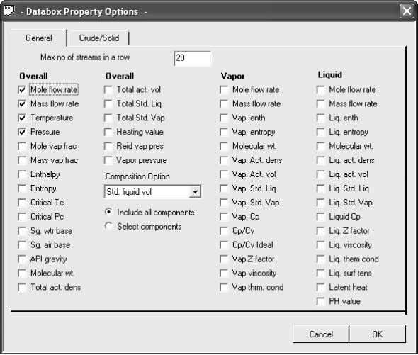 3. The PFD Property Options dialog box looks like this: This dialog box is used to