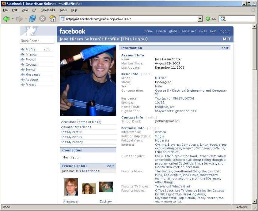 Figure 1: A sample Facebook page. Note the layout, accessible fields, and formation of URL